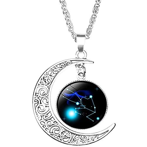 ShenMiDeTieChui 12 Constellation Luna Collar Regalos Astrología Galaxy & Crescent Moon Bead Cuenta Colgante Collar para Mamá Regalo Mujeres Sus Chicas (Color : 1)