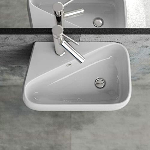 KERABAD Design Keramik Waschbecken Waschtisch Waschschale Aufsatzwaschbecken Aufsatzwaschtisch Gäste WC Becken mit Armaturloch Links KB-A486-L BxTxH 45,5x28x15,5cm