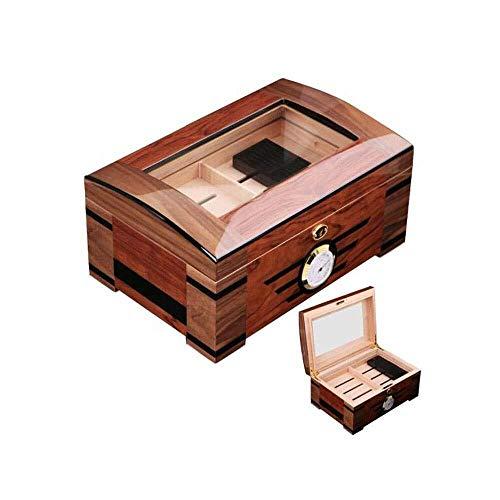 YINGGEXU Humidor de cigarros Caja de cigarros, caja de cigarros del oeste de madera de gran capacidad de 20 palos, apto for fumadores cigarros humidores de puros y Accesorios, grano de madera color op