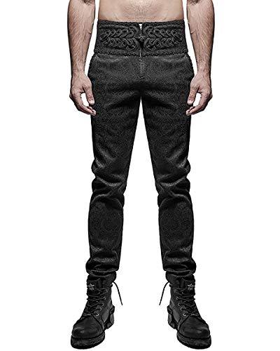 Punk Rave Pantalones Para Hombre Pantalones Negros Damasco Gótico Steampunk VTG...