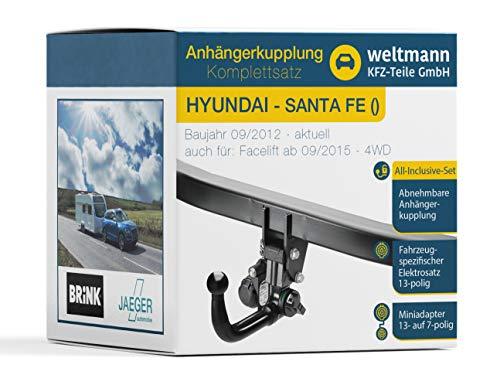 Weltmann Mundo Muñeco AHK Juego Completo Hyundai Santa Fe Brink Desmontable Remolque + fahrzeugspezifischer Jaeger Automotive eléctrico de 13Pines