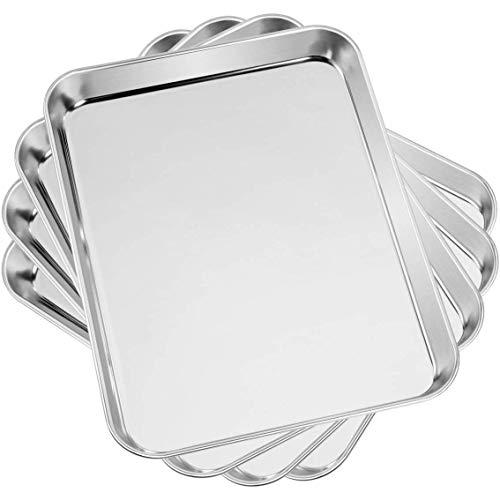 Yaeele Fiocchi di cottura e biscotti, 4 per set, in acciaio inox in acciaio inox forno forno forno forno forno per forno professionale, resistente, rivestimento specchio profondo, lavastoviglie per la