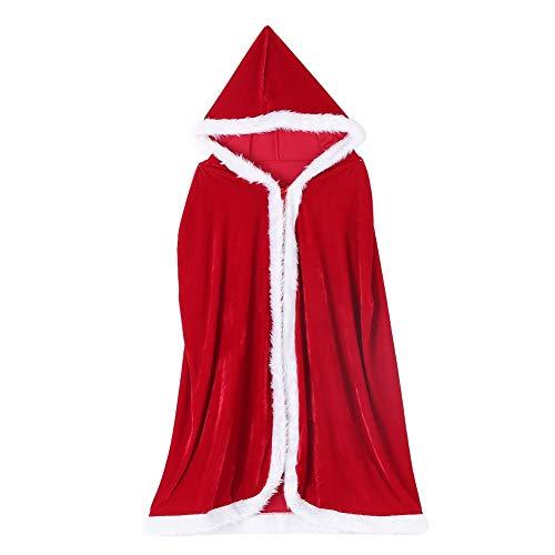 Nikou Kerst Kaap - Unisex Halloween Mantel Hoodie Fluweel Vampier Heks Duivel Kaap Cosplay Kostuum (Rood)