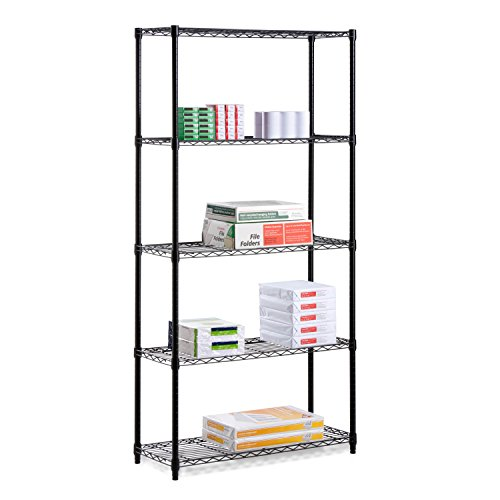 Honey-Can-Do SHF-06831 5-Tier Black Storage Shelves 18-Inches x 36-Inches x 72-Inches, Black Powder Coat