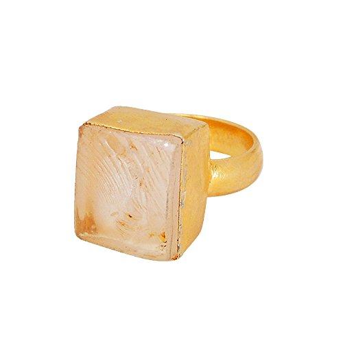 22K Oro Vermeil Rough cristal cuarzo Gemstone anillo de regalo de Navidad