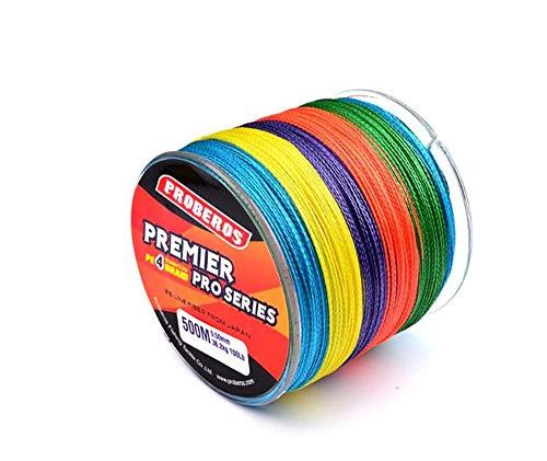 Trayosin Angelschnur farbig 0.4#-10# 6LB-100LB 4-Fach geflochtene Angelschnur 500m der Reihe PE reißfest Maximal Abriebfeste (6LB/0.10 mm)