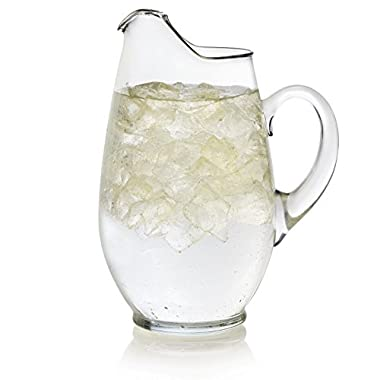 Libbey Mario Glass Pitcher, 90-Ounce Capacity, 10.4-Inch Height, Lead Free