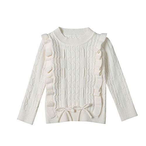 ALLAIBB Pullover Maglione Bambina Maglione Caldo Taglio Smocked Jacquard a Spirale 1-5 Anni