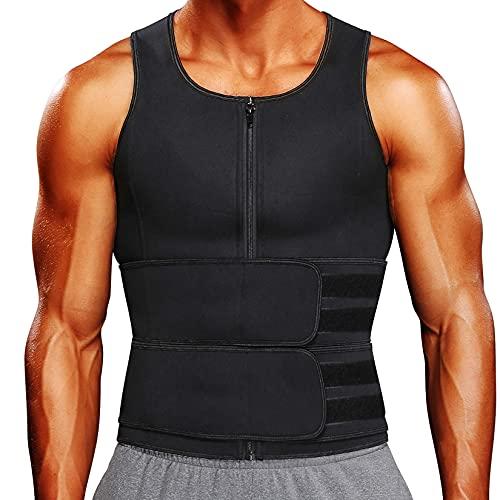 KIWI RATA Sauna Waist Trainer Vest for Men Sweat Suit Double Tummy Control Belly Trimmer Belts Neoprene Workout Upper Body Shaper