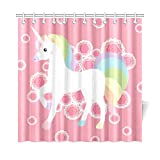 N\A Cortinas de decoración para el hogar para el baño Unicornio Dulce de Dibujos Animados Niño y bebé Tela de poliéster Cortina de privacidad para baño Impermeable para baño 72 * 72 Pulgadas (18