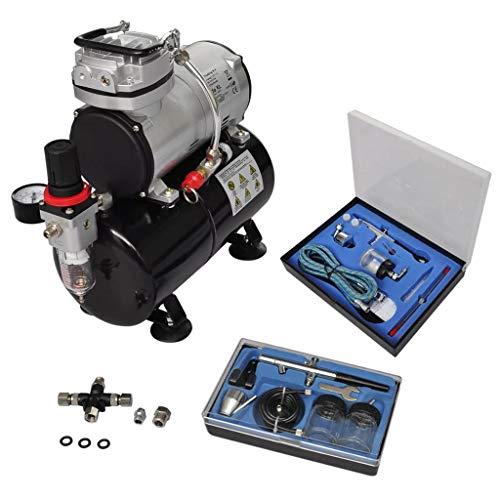vidaXL Airbrush Profi Kompressor Komplett-Set mit 2 Pistolen Airbrushpistole