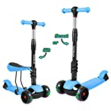 2 in 1 Toddler Scooter 3 Wheel Kick Scooters for Kids with Removable Seat Adjustable Height, LED Light Up Wheels for Boys Girls Age 2 3 4 5 6 7 8
