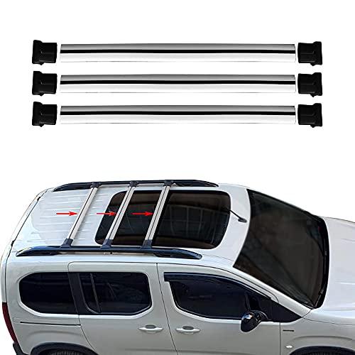 RE&AR Tuning Compatible para Mercedes Citan 2013-2021 Barras de techo de 3 piezas Portaequipajes Barras Transversales Aluminio Gris
