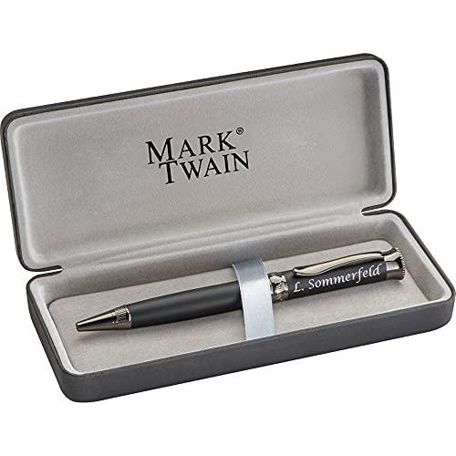 Mark Twain Kugelschreiber mit Gravur aus Metall inklusive Geschenkbox Geschenk zum Geburtstag Jubiläum verschiede Anlässe PS101