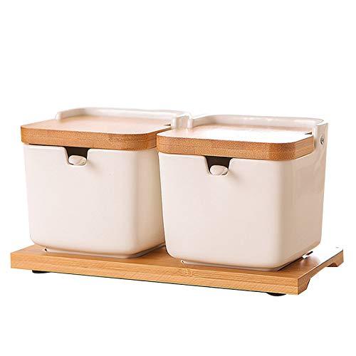 Yebobo Zucker Dose mit Deckel und L?Ffel, 8,54 Unzen Keramik Zucker Glas mit L?Ffel, GewüRz Glas für die KüChe, Porzellan Zuckerdose für Zucker, Servieren, GewüRz, Salz, 2 Pack