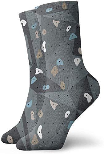 NA Climbing Boulders Bouldering Gym Abstract Geometric Grips Patterns Blue Gray Socks Athletic Crew Socks Running Sport Tube Sock Soccer Sock for Men Women 30CM