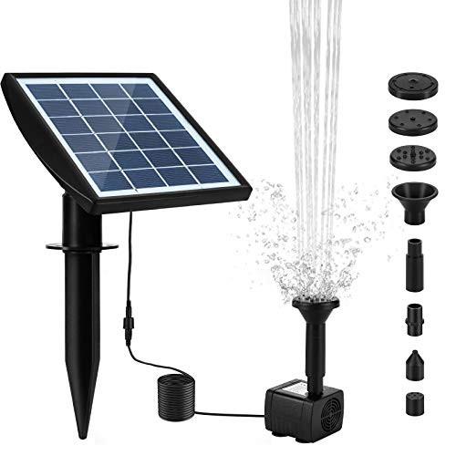 Solar Fountain Pump, 2W Solar Water Pump for Fountains with Panel, 7 Nozzles Solar Powered Fountain Water Pump Kit, for Pond Bird Bath Garden Pool Goldfish Patio