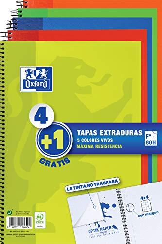 Oxford - Pack de 5 cuadernos (tapa extradura, 80 hojas, cuadrícula 4x4 con...
