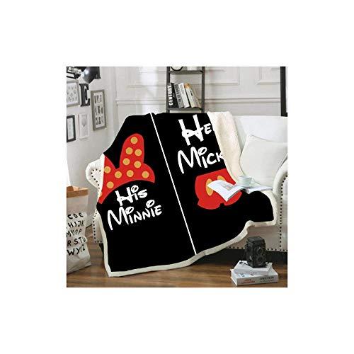 Copriletto matrimoniale Disney Topolino e Minnie Mouse in morbido pile, stampa digitale 3D, per adulti e bambini, per divano, letto, divano e soggiorno (A14,150 x 200 cm)