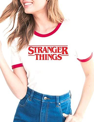T-Shirt Stranger Things Fille, Tee Shirt Stranger Things Ado Fille Femme Été Manche Courte Shirt Impression Lettres Ringer T Shirt Sport Baseball Hauts Tops Chemise Fan de Film (C2,M)
