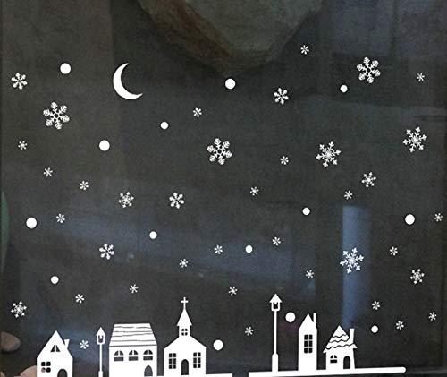 Snow Night Village pegatina electrostática ventana vidrio Navidad calcomanías de pared decoración del hogar año papel tapiz artístico