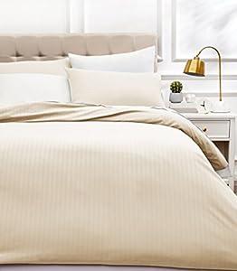 AmazonBasics - Juego de ropa de cama con funda nórdica de microfibra y 2 fundas de almohada - 260 x 220 cm, crema
