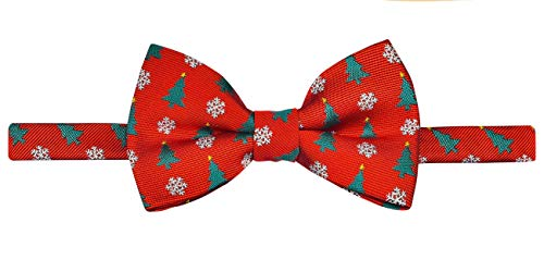 Retreez Classy Christmas Tree and Snowflakes Woven Microfiber Pre-tied Boy's Bow Tie - Red - 24 months - 4 years
