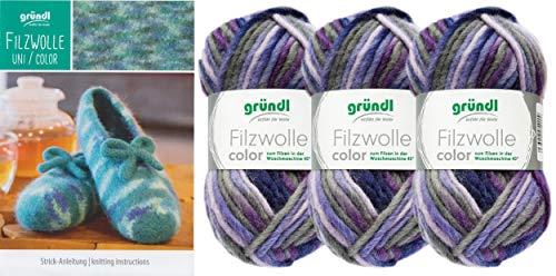 3x50 Gramm Gründl Filzwolle Color Wolle SB-Pack Wollset inkl. Anleitung für gestreifte Filzhausschuhe mit 2 Strasssteine zum aufnähen (32 Lila Mix)