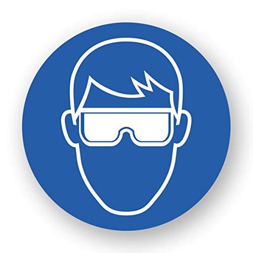 5 Stück XXL Schutzbrille Aufkleber Ø 21cm Augenschutz tragen Sticker mit UV Schutz Warnzeichen für Außen-und Innenbereich