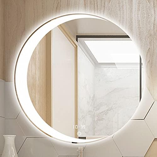 GETZ Espejo de Baño con Iluminación LED Iluminada Espejo de Tocador con Interruptor Táctil con Función de Atenuación de 3 Colores y Brillo Ajustable