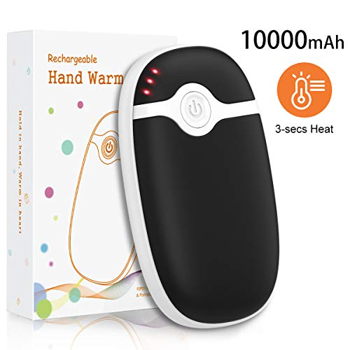 Riapow Hand Warmers Rechargeable 10000mAh, Electric Hand Warmer Battery Powered Handwarmers Long-Lasting Heater Pocket Warmer, Gift for Girlfriend & Boyfriend