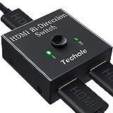 HDMI Switch 4K Aluminium, Techole Bi-directionnel Commutateur HDMI Répartiteur 2 IN 1 OUT/1 IN vers 2 OUT 3D 1080P...