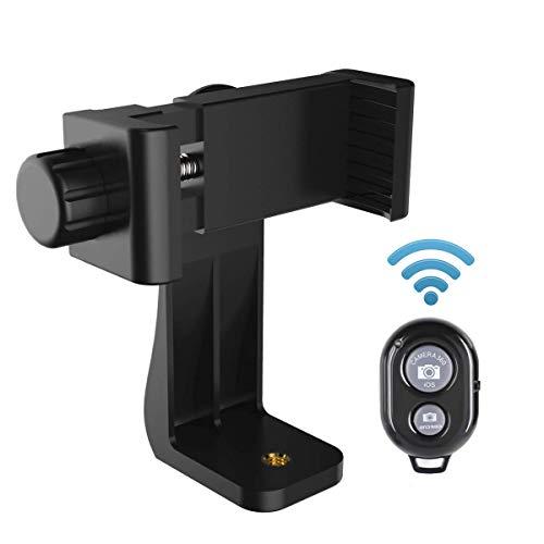 AFAITH Handy-Stativ-Adapter, Universal Smartphone-Mount-Adapter-Halter + Bluetooth Auslöser Fernbedienung für iPhone XS Max/XS/XR/8 Plus Samsung Galaxy S9 Plus Drehen vertikal oder horizontal PA074
