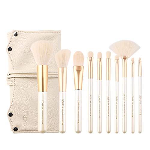 Pinceau De Maquillage Portatif Blanc, Outil De Maquillage De Kit De 10 Outils De Fard À Paupières D'ombre À Paupières Foundation Blush