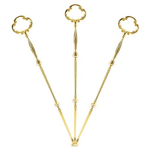 Surepromise 3 Set Gold Blume Metallstange Mittellochausstech 2 bis 3 Etage für Hochzeitstorte Etagere Tortenständer Tortenhalter Torten