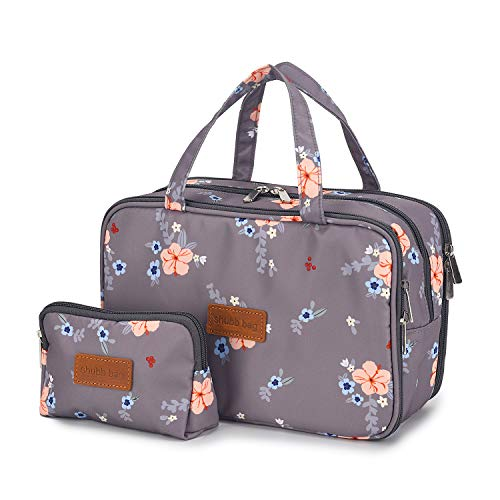 Travel Makeup Bag Toiletry Bags Large Cosmetic Cases for Women Girls Water-resistant (gray floral/makeup