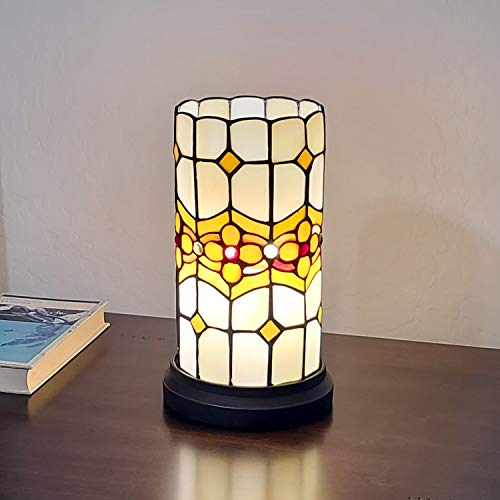 Amora Lighting Tiffany Style Accent Lamp 10u0022 Tall Stained Glass White Yellow Floral Vintage Antique Light Decor Nightstand Bedside Living Room Bedroom Gift AM088ACCB, Multicolored