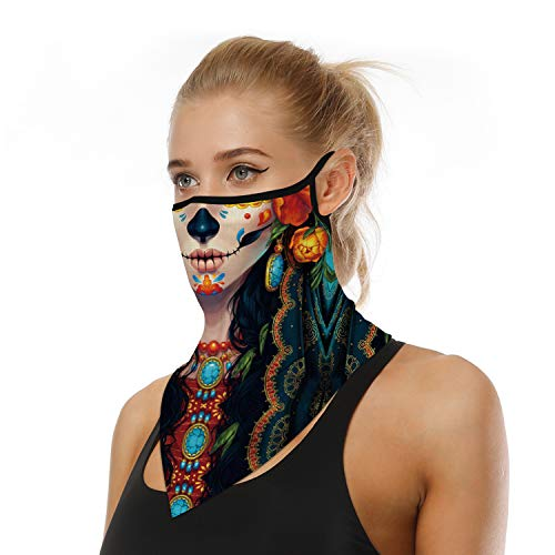 Magic Face Bandana w/Earloops for Women Men,Multifunctional Neck Gaiter Cover w/UV Sun Dust Protection,Breathable Scarf Headband for Hiking,Running,Fishing,Motocycle,Riding (Skull)