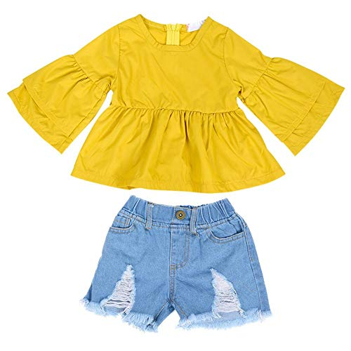 2 stuks baby meisjes trompet mouwen T-shirt denim broek korte mode prinses ronde hals blouse kinderen kleding set 100