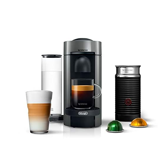 Nespresso VertuoPlus Coffee and Espresso Maker Bundle with Aeroccino Milk Frother by De'Longhi Red 1 Versatile automatic Coffee maker: brew different single-serve coffee cup sizes at the touch of a button depending on your coffee needs - Espresso (1. 35 oz. ), double Espresso (2. 7 oz. ), Gran Lungo (5 oz. ), Coffee (7. 7 oz. ) and alto (14 oz. ). Pour over ice to create your favorite Iced Coffee drinks. Designed for use with Espresso Vertuo capsules Smart Coffee maker: brew the perfect single-serve coffee or Espresso drink time after time, thanks to espresso's Centrifusion (TM) technology using barcodes to deliver the best in-cup results including the perfect crema for large Coffee cup sizes. Simply insert the capsule and enjoy freshly brewed Coffee or authentic Espresso. Single serve Coffee machine: have the ability to create Barista grade brewed single-serve coffee or Espresso cups at the touch of a single button. The one-touch button mechanism delivers the best in-cup result for whatever style coffee or Espresso drink you choose. Designed for use with Espresso Vertuo capsules only.