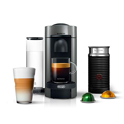 Nespresso VertuoPlus Coffee and Espresso Machine Bundle with Aeroccino Milk Frother by De'Longhi, 5.6 x 16.2 x 12.8 inches, Gray