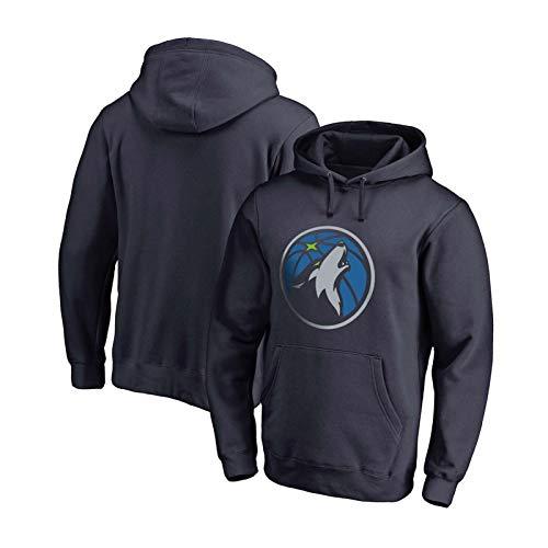 DRBY Städte 32# Timberwolves Herren Basketball Hoodie, Trikots Männliche Fans Training Hoodies, Herren Langarm Basketball Mit Kapuze Sweatshirt Grey blue-2-S