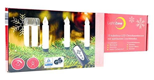 LightZone 15 x Kabellose Christbaumkerzen inkl. Batterien