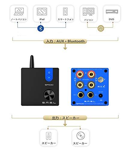 『S.M.S.L SA100 パワーアンプ Bluetooth5.0 50Wx2 高低音調整可能 TPA3116D2 AUX/Bluetooth入力』の6枚目の画像