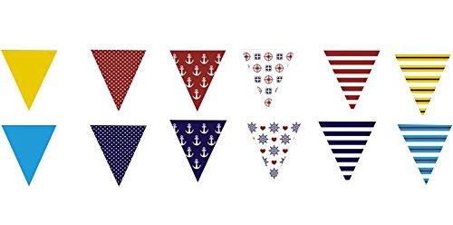 Demarkt 1 Pcs Marine Marine Bateau Ancre Triangle banderoles Bricolage Ornements décoration de fête banderoles Fournitures de fête (Style 1 300cm