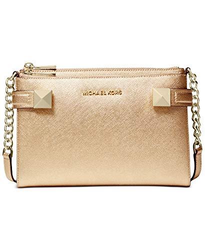 "Small sized bag; 9-1/4""W x 6-1/2""H x 1-1/4""D (width is measured across the bottom of handbag); 1 lbs. approximate weight 24""L crossbody strap Zip closure Gold-tone exterior hardware, 1 slip pocket & 1 zip pocket 1 interior slip pocket & 8 credit card..."