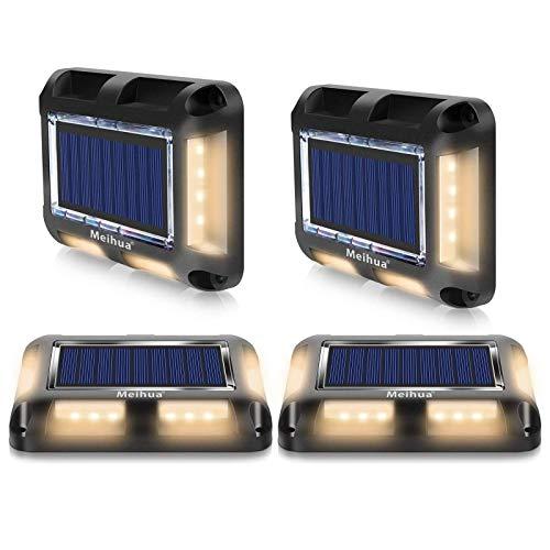 MEIHUA Lámpara de pie solar LED, escaleras exteriores para el piso, terrazas jardín, pasarela, puente de madera, de barco, IP67 3000K [blanco cálido][4 piezas]