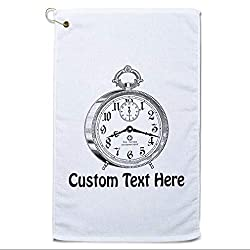 Style In Print Custom Golf Towel Personalized Alarm Clock Vintage Cotton Bag Accessories White Text Here