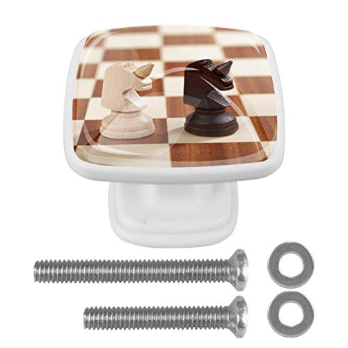 Tirador de cajón con tornillos Tablero de ajedrez Perillas de gabinete cuadradas de bricolaje, vidrio para el hogar, armario, cocina, tocador y armario 4 piezas 3x2.1x2 cm