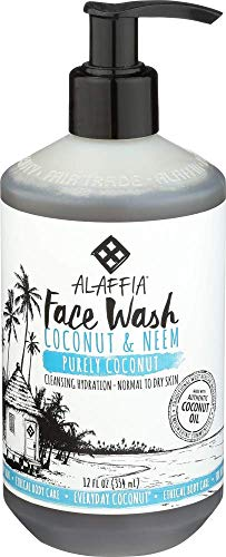 Alaffia - Purely Coconut Face Cleanser, Normal to Dry Skin, Cleansing Support to Remove Makeup Leaving Skin Fresh and Hydrated with Neem, Lavender Oil, Fair Trade, Papaya and Neem, 12 Ounces (FFP)